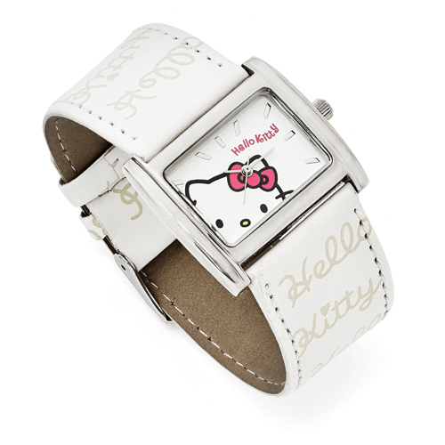 Hello Kitty® Silver-Tone & White Faux Leather Watch